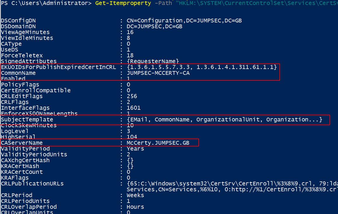 Granular Certificate Authority configuration detail