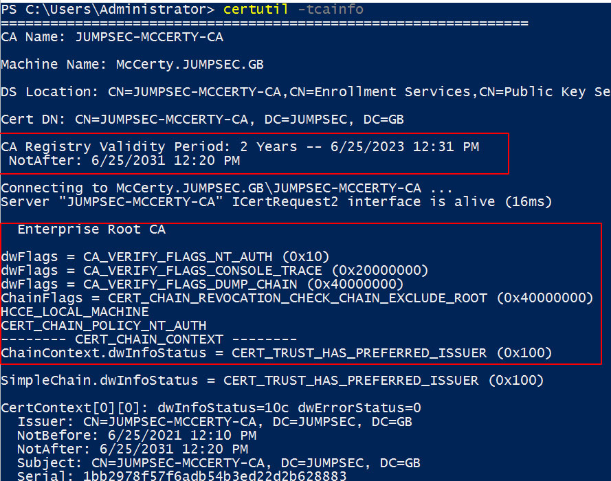 Verbose Certificate Authority information